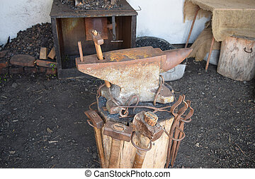 Old forge anvil Reconstruction of life of Cossacks of Kuban...