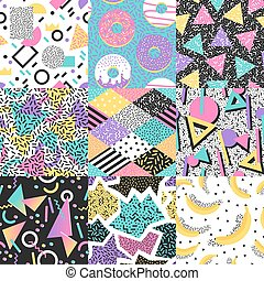 Abstract seamless pattern vector set - Universal different...