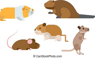 Cartoon rodents animals vector set. - Cute cartoon rodents...