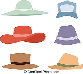 Summer hats collection vector set.