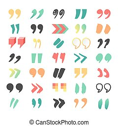 Quote sign vector set - Quote sign icon text concept message...