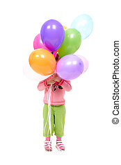 Balloon party - Image of small girl holding colorful...
