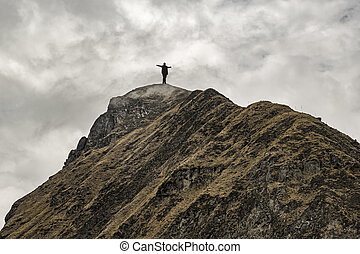 Man at the Top of Mountain