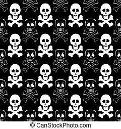Skull Cross Bones Seamless Pattern Skull Isolated on Dark