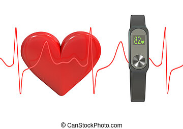 activity tracker or fitness bracelet, Heart rate monitor concept. 3D rendering