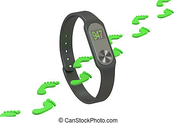 activity tracker or fitness bracelet, pedometer concept. 3D rendering