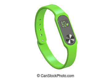 green activity tracker or fitness bracelet, 3D rendering
