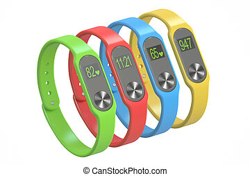 Multicolour activity trackers or fitness bracelets, 3D rendering