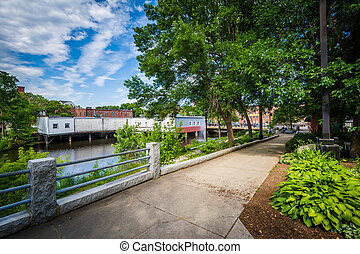 Gardens along the Cocheco River in downtown Dover, New...