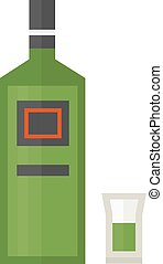 rum bottle vector illustration - Full rum bottle ice aroma...