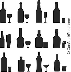 Different alcohol drink bottles black silhouette - Alcohol...