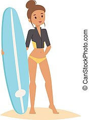Surfing people vector girl. - Vector surfing girl standing....
