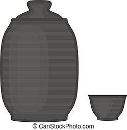 vecteur, Illustration, de, eau, ou, boissons, Flacon