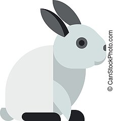 White toy bunny rabbit sitting cute animal cartoon vector