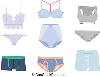Underwear isolated vector set - Underwear isolated male and...
