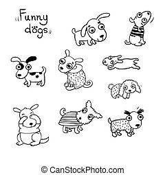 Funny dogs in the snow. Vector illustration.