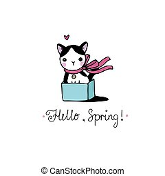 Cute little spotted cat in the box. Hello, Spring text. Hand...