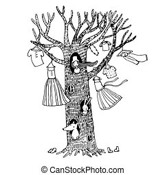 Magic tree with clothes. The fox, hare and the girl. Hand...
