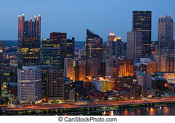 Night view of the Pittsburgh city center