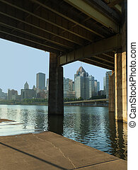 Vertical view of bridge and Pittsburgh skyline