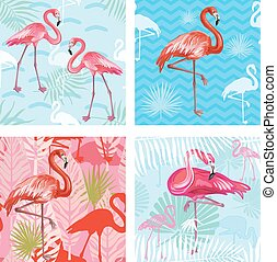 Set of Seamless patterns with flamingoes