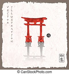 Torii gates hand-drawn with ink - Red torii gates hand-drawn...