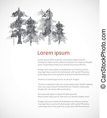 Design template with trees in fog