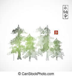 Forest trees hand drawn with ink in traditional Japanese...