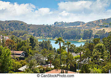 View of Hollywood Reservoir, in Los Angeles, California