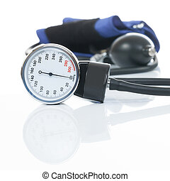 Close up studio shot of a blood pressure measuring medical equipment on white background - a tonometer