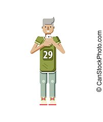 illustration isolated of European blonde man in sports shirt...