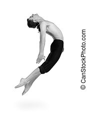 colorless portrait of young and stylish modern ballet dancer...