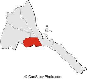 Map - Eritrea, Maekel - Map of Eritrea with the provinces,...