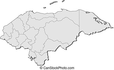 Map - Honduras - Map of Honduras with the provinces