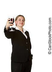 young business woman toasting with glass of wine