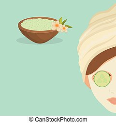 Spa center design. Skin care concept. Flat illustration -...