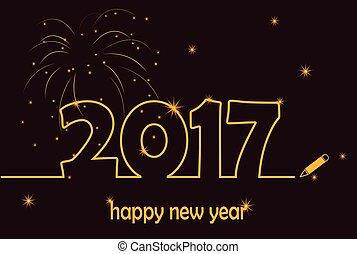 Happy New Year 2017 gold line with fireworks and sparkles...