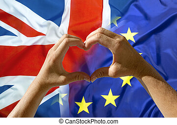 Hands heart symbol, exit Great Britain from European Union...