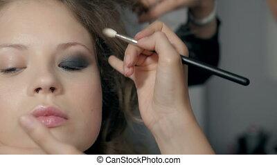 Makeup. Make-up. Eyeshadows. Eye shadow brush, eye lid,...
