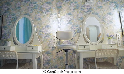 chairs and mirrors in modern hairdressing. Lovely jobs in...
