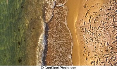 AERIAL VIEW. Waves Splashing Along The Beach In Crimea -...