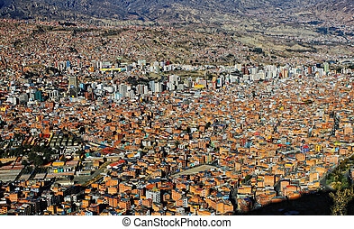 la paz bolivia - urban view from above of la paz city...