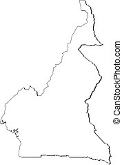 Map - Cameroon - Map of Cameroon, contous as a black line.