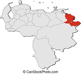 Map - Venezuela, Delta Amacuro - Map of Venezuela with the...
