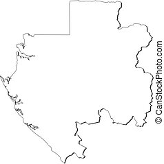 Map - Gabon - Map of Gabon, contous as a black line.
