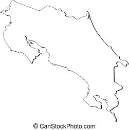 Map - Costa Rica - Map of Costa Rica, contous as a black...