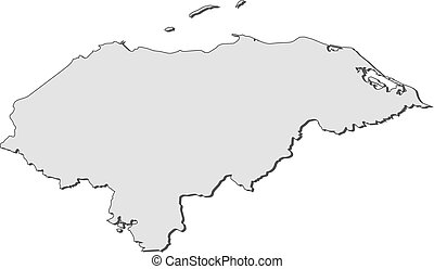 Map - Honduras - Map of Honduras, filled in gray