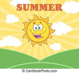 Sunshine Happy Sun Mascot Cartoon Character Over Landscape
