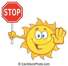 Cute Sun Holding A Stop Sign - Cute Sun Cartoon Mascot...