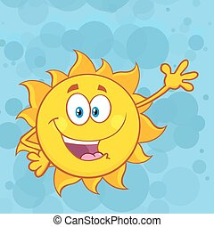 Cute Sun Character Waving - Cute Sun Cartoon Mascot...